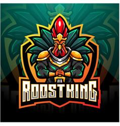 Rooster king esport mascot logo design vector