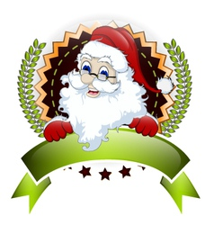 santa claus with blank sign for you design vector image