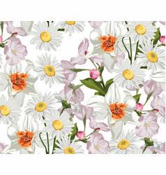 seamless floral pattern with white wedding flowers vector image