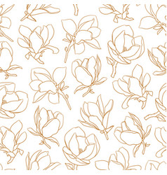 seamless pattern with gold blooming magnolia vector image