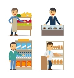 Seller at the counter vector