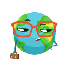 Serious businessman earth planet character in vector