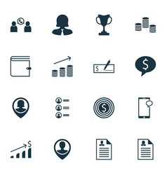set of 16 hr icons includes business deal vector image