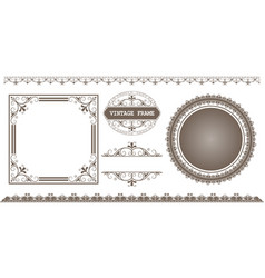 set of decorative frame in vintage style vector image
