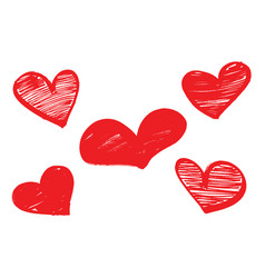 Set of red hearts drawn with a marker vector