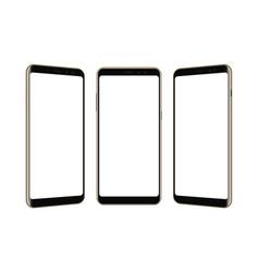 Set of three frameless smartphones mock up vector