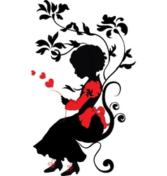 silhouette little girl with love letter vector image