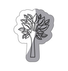 Silhouette tree with leaves and stem in form hand vector