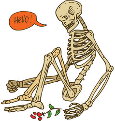 Sitting skeleton with flower vector