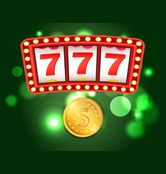 Slot or fruit machine casino club and gold coin vector