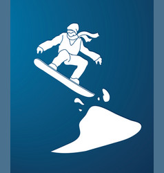 snowboarder jumping snowboard graphic vector image