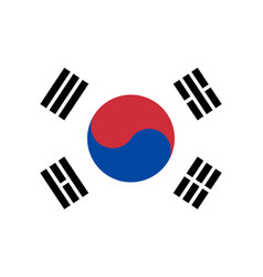 south korea nation flag official colors vector image