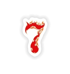 Sticker fiery font red number 7 on white vector