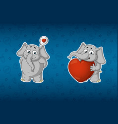 stickers he is in love he has a big heart vector image