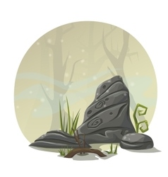 Stones grass and roots for computer game location vector image