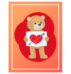 Stuffed teddy with sheet of paper and broken heart vector