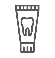 Toothpaste tube line icon stomatology and dental vector