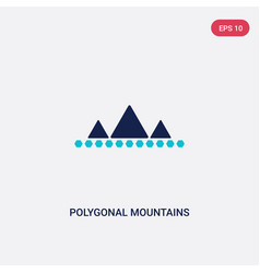 two color polygonal mountains icon from geometry vector image