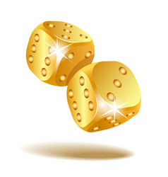 Two golden falling dice isolated on white vector