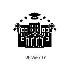 University black glyph icon vector