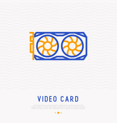 video card with cooler thin line icon vector image