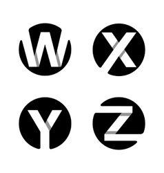 W x y z white stripe in a black circle vector