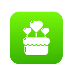 wedding cake icon green vector image