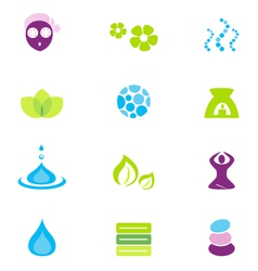 Wellness spa and nature icons vector