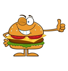 Winking Hamburger Cartoon vector