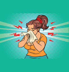 Woman is sick runny nose and handkerchief vector