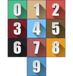 3d Numbers with Long Shadows vector image vector image