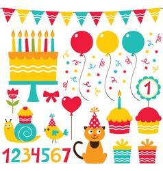 Birthday party set vector