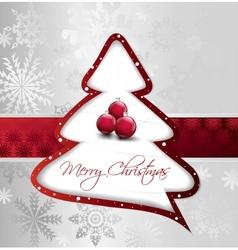 Cartoon Christmas Tree on silver card vector image