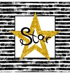 Golden Star on striped background vector image vector image