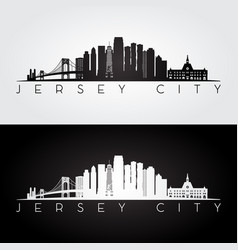 jersey city usa skyline and landmarks silhouette vector image vector image
