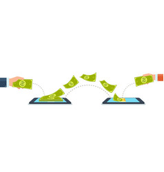 send and receive money using mobile phones vector image vector image