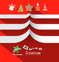 Christmas Paper Symbols on Red Background with vector image vector image