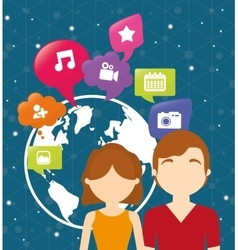 couple world communication social media vector image vector image