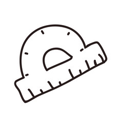 protractor ruler doodle vector image