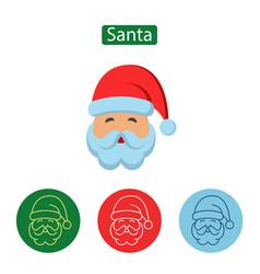 santa claus minimal line stroke icon vector image