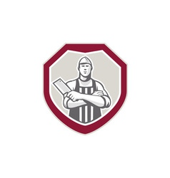 Butcher With Meat Cleaver Shield Retro vector image vector image