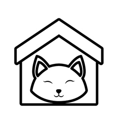 cat fluffy animal clossed eyes house pet outline vector image vector image