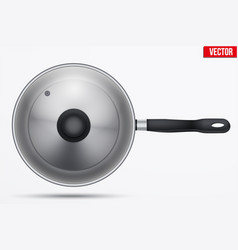 classic stainless steel fry pan vector image
