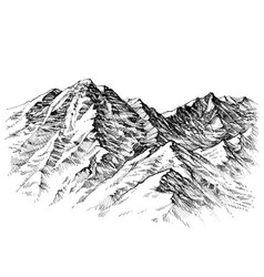 mountains sketch mountains ranges hand drawing vector image
