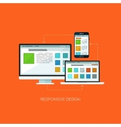 Responsive design flat web infographic technology vector image
