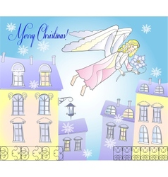 Card with Angel and Snowflakes at the City vector image