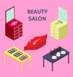 flat 3d isometric creative beauty salon new vector image vector image