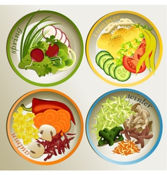 Four seasons plate vector image