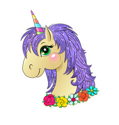 funny unicorn head vector image vector image