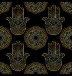 Gold hand of fatima with mandala seamless pattern vector